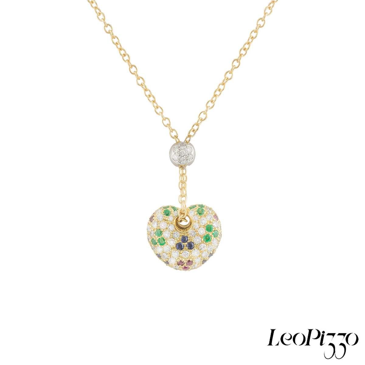 Leo Pizzo Yellow Gold Multi-Gemstone Heart Pendant